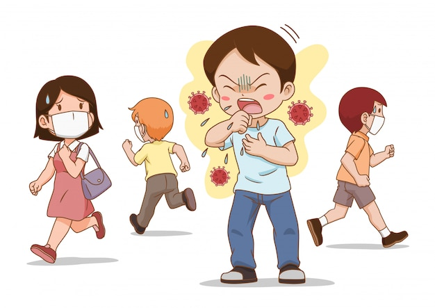 The man not wearing a mask is coughing. people around avoids him. Premium Vector