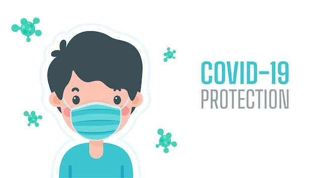 A man wearing a mask to protect against virus the concept of a mask is a shield against viruses. Premium Vector