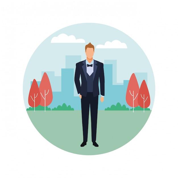 Man wearing tuxedo round icon Premium Vector