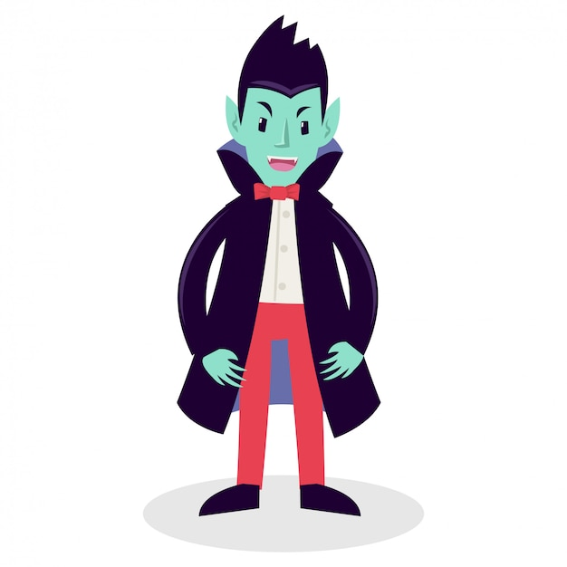 A man wearing vampire cape in birthday party Premium Vector