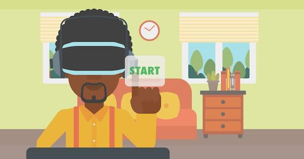 Man wearing virtual reality headset. Premium Vector