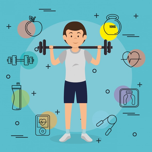 Man weight lifting with sports elements Free Vector