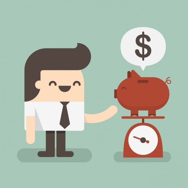 Man weighting a piggybank Free Vector