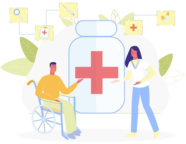 Man in wheelchair woman nurse red cross symbol Premium Vector