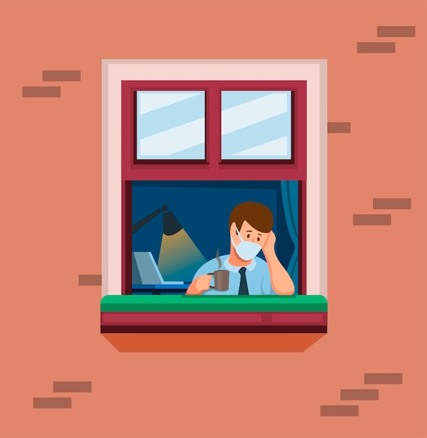 Man on window work from home. man felling stress and bored in quarantine activities concept in cartoon illustration vector Premium Vector