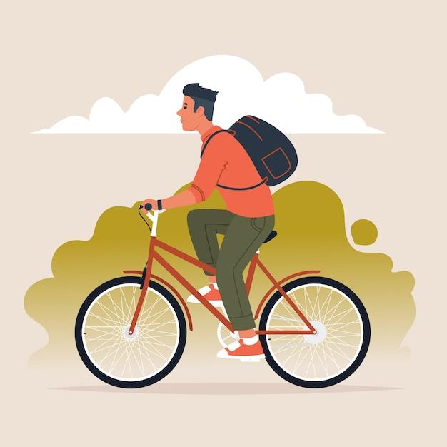 バックパックを背負った男が自転車に乗る。アクティブなライフスタイル。フラットスタイルのベクトル図 Premiumベクター
