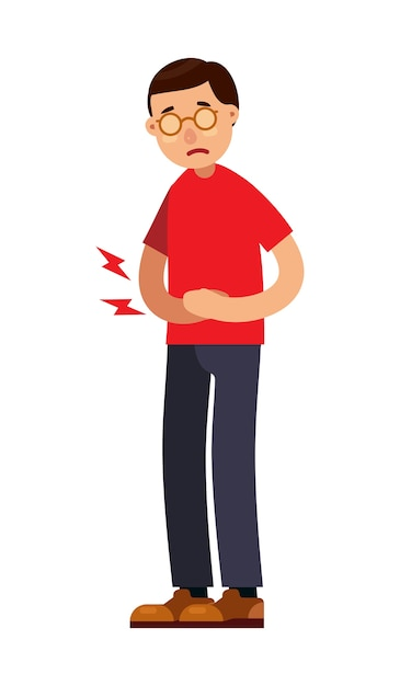 Man with abdominal stomach pain character Premium Vector