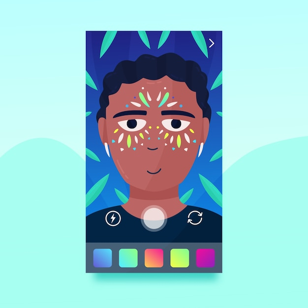 Man with ar make-up filter for social media Free Vector