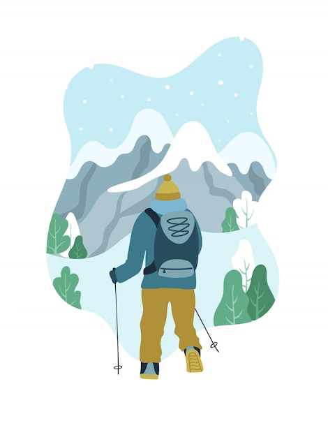 Man with backpack hiking to the top of mountain. Premium Vector