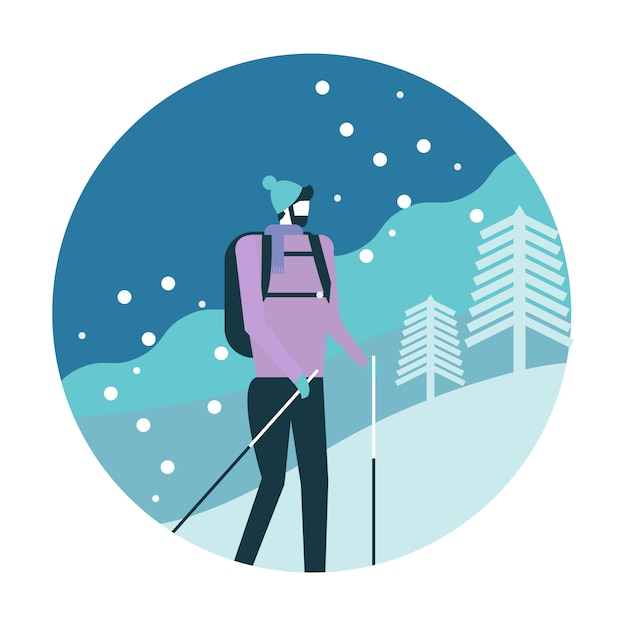 Man with backpack trekking in mountains. Premium Vector