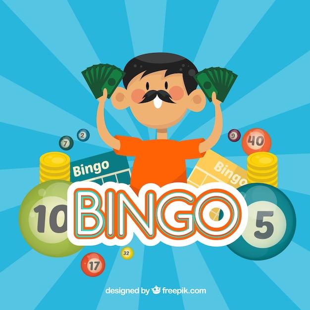 Uomo con banconote sfondo bingo Vettore gratuito