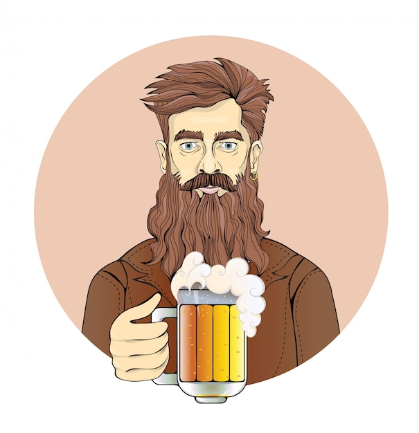 Man with beard holding a beer mug. portrait of a man in circle, sepia tint.   illustration.  on white background Premium Vector