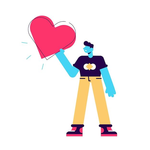 手に大きな赤いハートを持つ男。男は心を保持します。 Premiumベクター