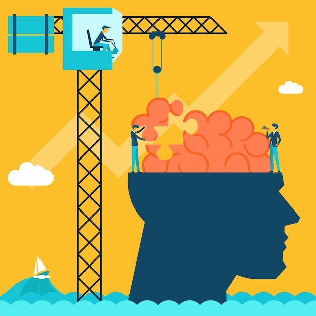 Uomo con illustrazione di puzzle del cervello Vettore gratuito