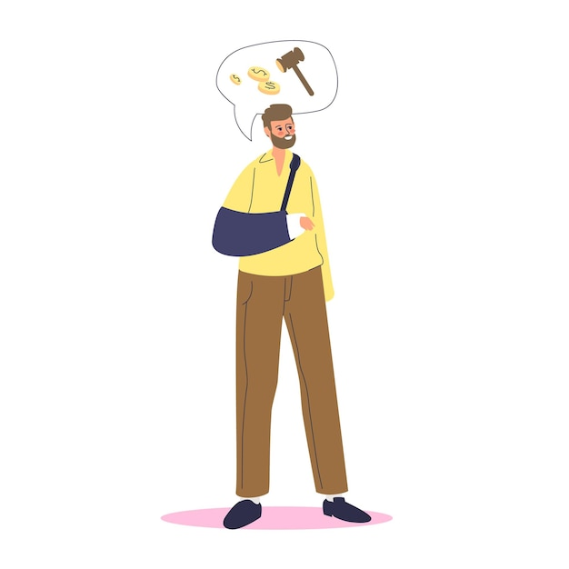 Man with broken arm in bandage looking for disability allowance payment. disabled male cartoon character with broken hand needs rehabilitation money support. Premium Vector