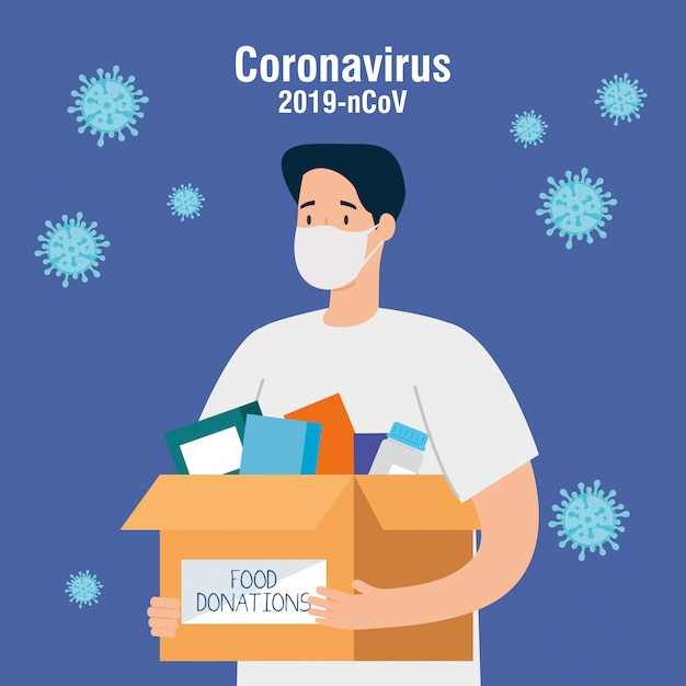 Man with cardboard donation box books, social care, volunteering and charity concept Premium Vector