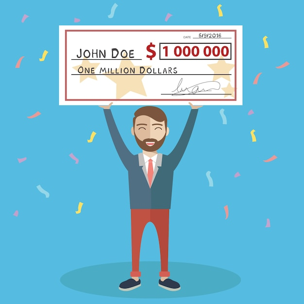 Man with a cheque background design Free Vector
