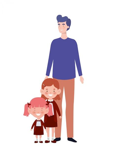 Man with children of back to school Premium Vector