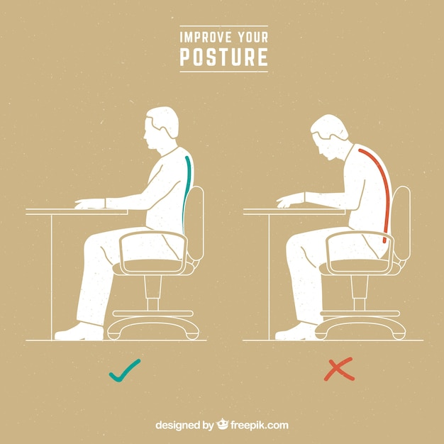 Man with correct position and wrong sitting Free Vector