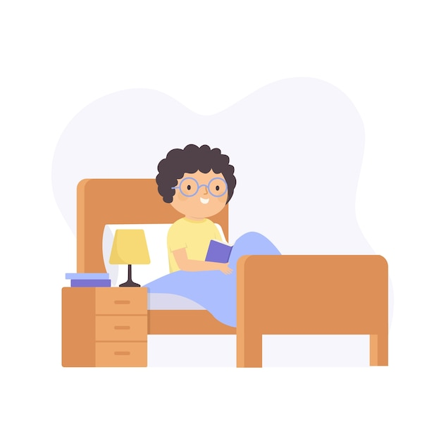 Man with curly hair reading a book in bed Free Vector