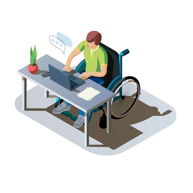 コンピューターで作業しているデスクで障害を持つ男性。仕事をしている、またはオンラインで通信している車椅子の無効な人。職場での障害者キャラクター、アイソメトリックイラスト。 無料ベクター