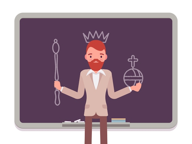 Man with drawn king Premium Vector