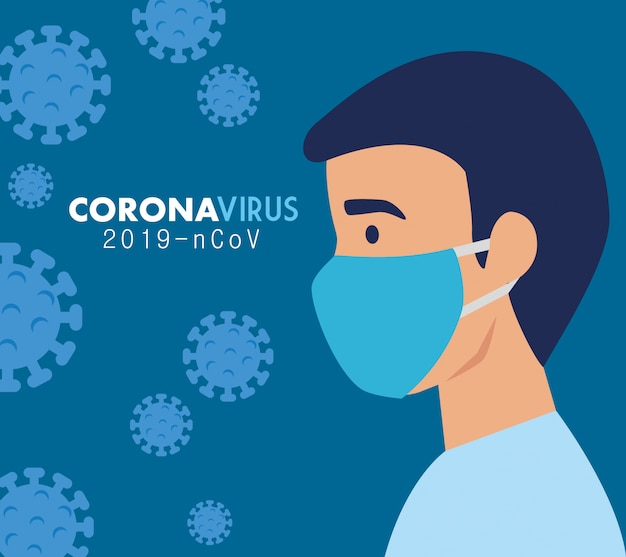 Man with face mask for coronavirus 2019 ncov Free Vector