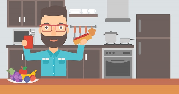 Man with fast food. Premium Vector