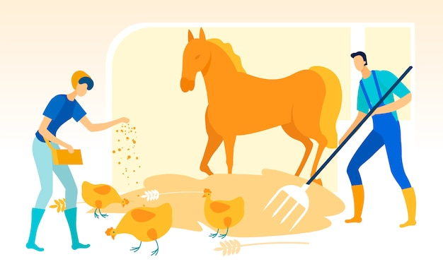 Man with forks cleans stable. woman feeds chicken. Premium Vector