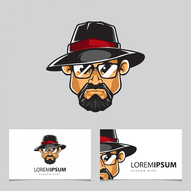 Man with hat mascot and business cards Premium Vector