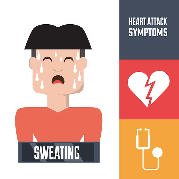Man with heart attack symptoms and condition Premium Vector