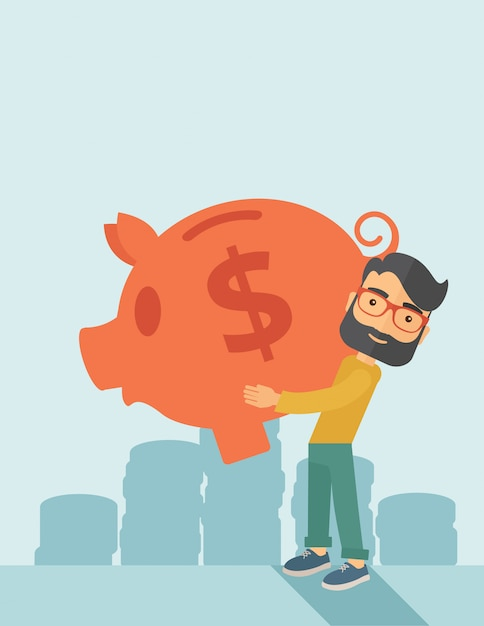 Man with his big piggy bank Premium Vector