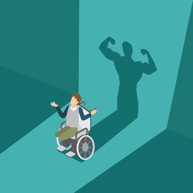Man with his disability have a powerful man shadow Premium Vector