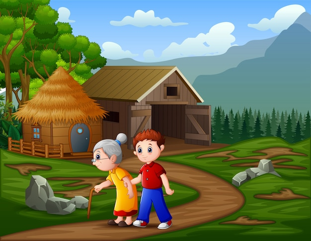 A man with his grandmother walks past a cattle ranch Premium Vector