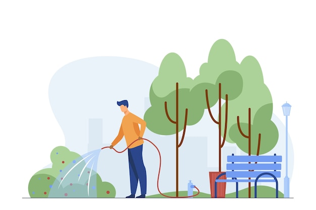 Man with hose watering bush in city park. gardener, state worker, municipal service flat vector illustration. urban greening, landscaping work concept Free Vector