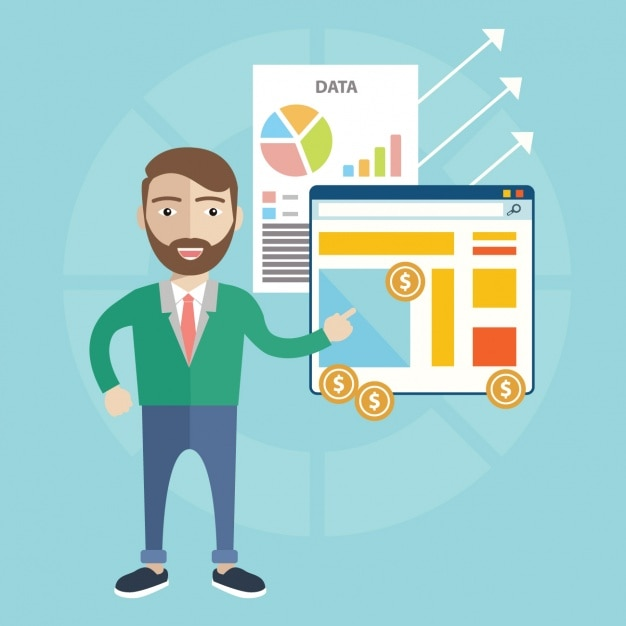 Man with infographies design Free Vector