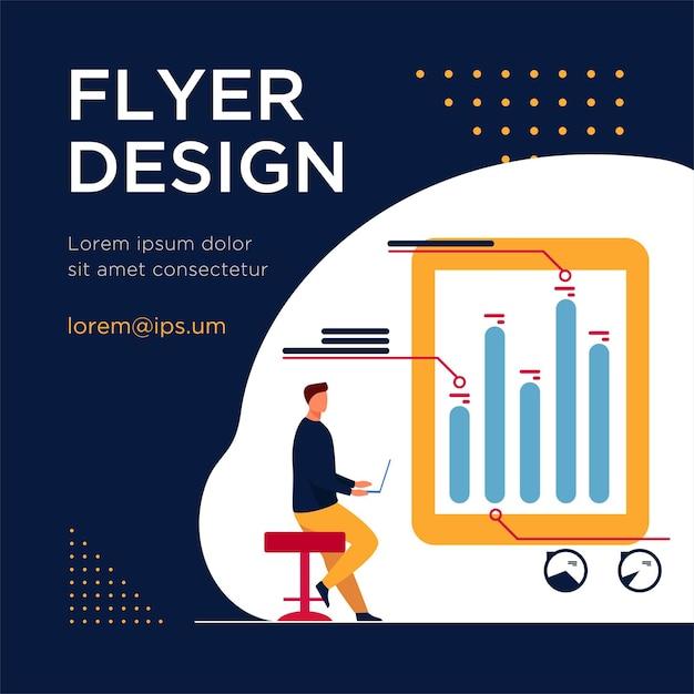 Человек с ноутбуком, анализируя инфографику. диаграмма, гистограмма, отчет плоский флаер шаблон Бесплатные векторы