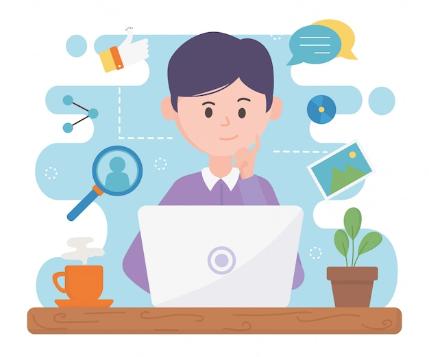 Man with laptop network social media in the space work Premium Vector