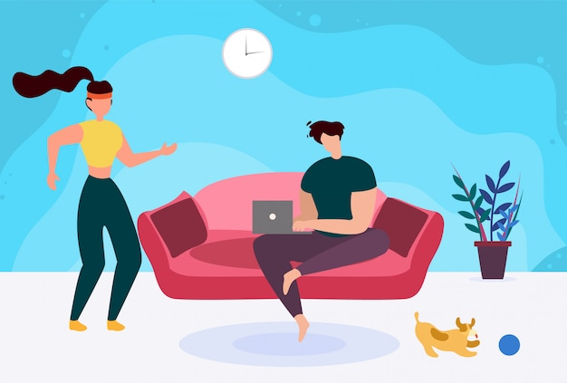 Man with laptop on sofa and active sporty woman cartoon Premium Vector