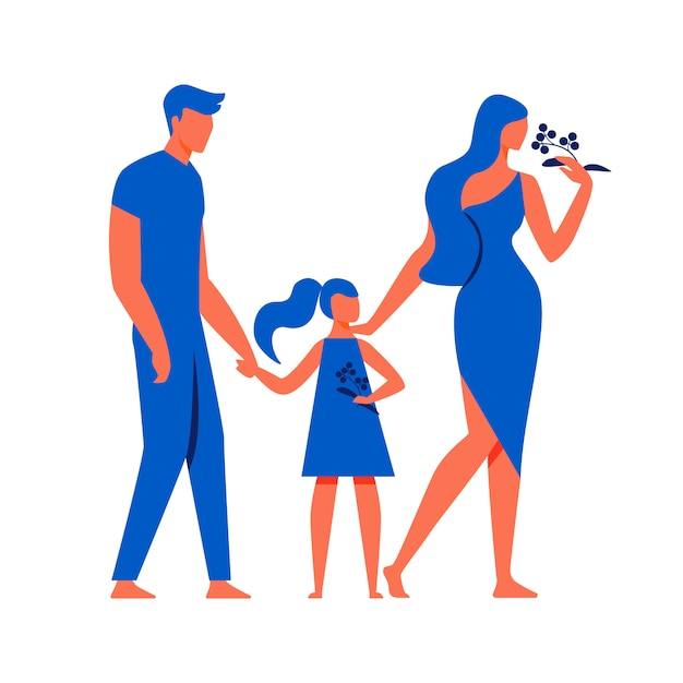 Man with little girl and woman on white background Premium Vector
