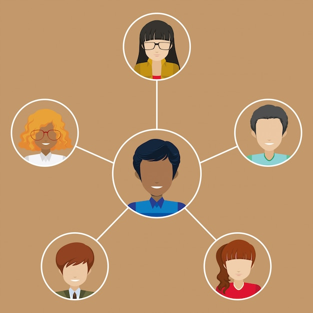 A man with many networks Free Vector