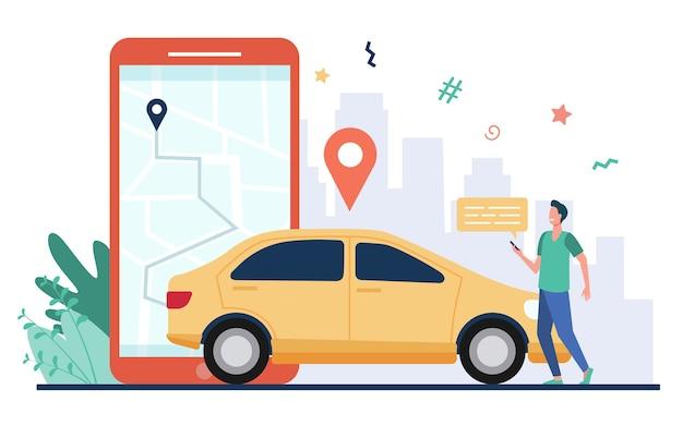 스마트 폰 임대 자동차에지도 가진 남자입니다. 휴대폰에서 카 셰어 링 앱을 사용하고 차량을 검색하는 운전자. 교통, 교통, 도시 교통, 위치 앱 개념에 대 한 벡터 일러스트 레이 션. 무료 벡터