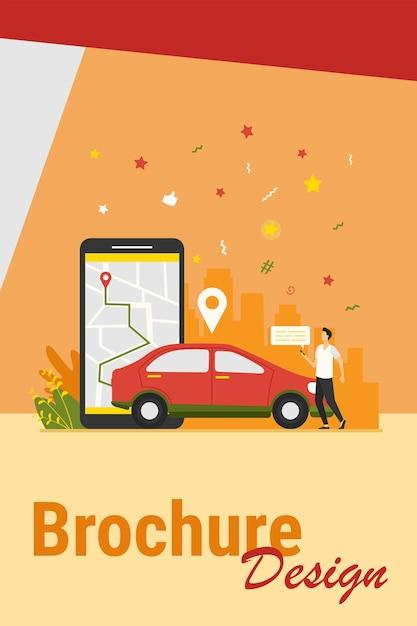 Человек с картой на смартфоне, арендуя автомобиль. водитель использует приложение для совместного использования автомобилей на телефоне и ищет автомобиль. векторная иллюстрация для транспорта, транспорта, городского движения, концепции местоположения приложения. Бесплатные векторы
