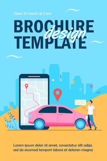 Man with map on smartphone renting car flyer template Free Vector