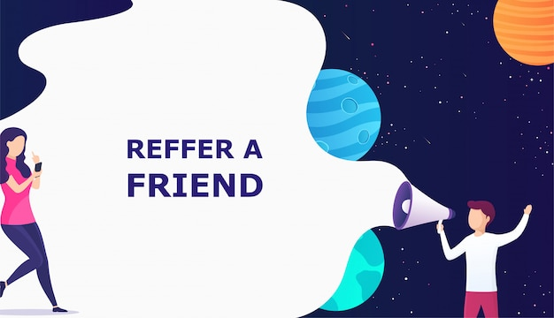 Man with megaphone concept refer a friend Premium Vector