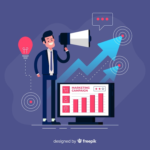 Man with megaphone marketing campaign background Free Vector