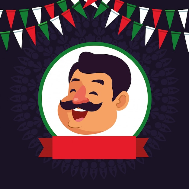 Man with moustache avatar cartoon character Free Vector