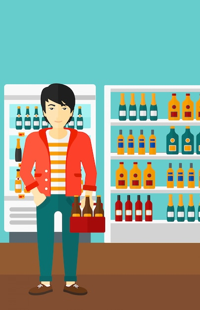 Man with pack of beer Premium Vector