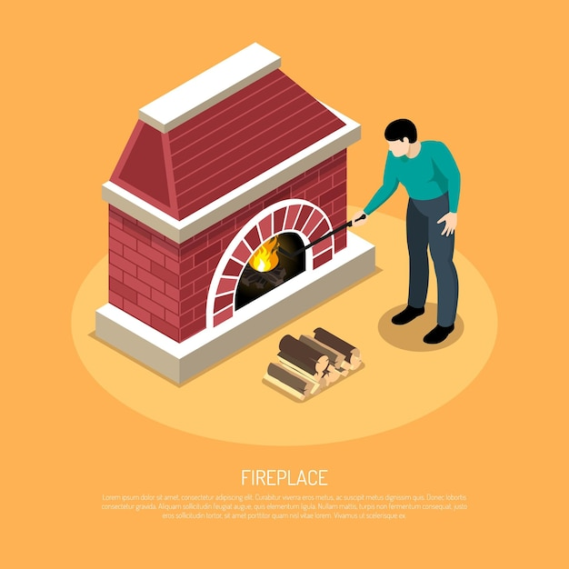 Man with poker near red white fire place from brick on orange  isometric Free Vector