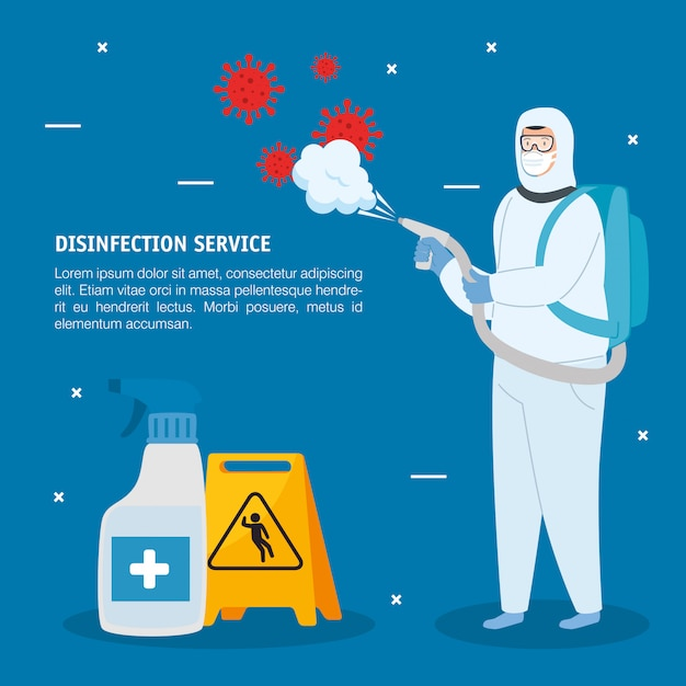 Man with protective suit spraying  virus and sanitizer bottle Premium Vector